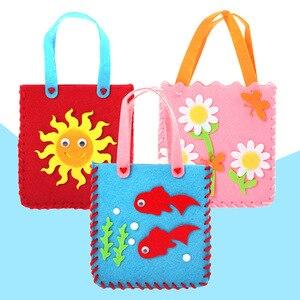 DIY حقيبة غير المنسوجة النسيج اليد حقيبة الكرتون ستيريو صنع عجينة الإبداعية الفن المواد في روضة الطفل طفل اليد صنع لعبة BS63