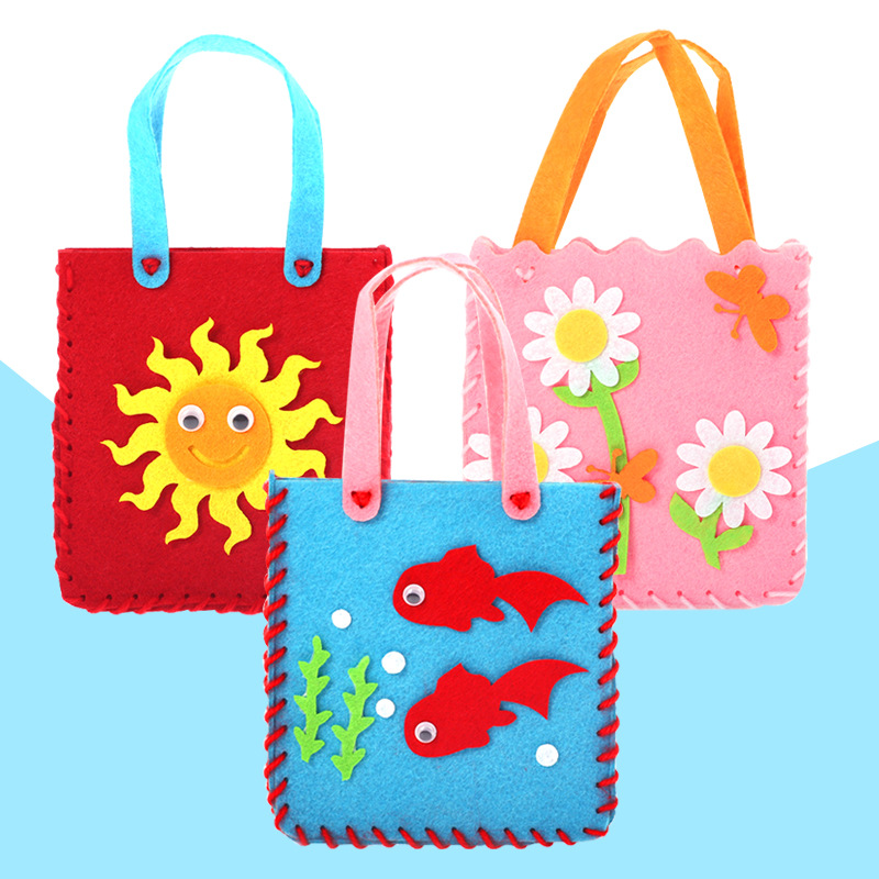 No Free Shipping/ DIY Bag Non-woven Fabric Hand Bag Creative Art Materials In Kindergarten Baby Kid Hand Made Toy For Girls BS63