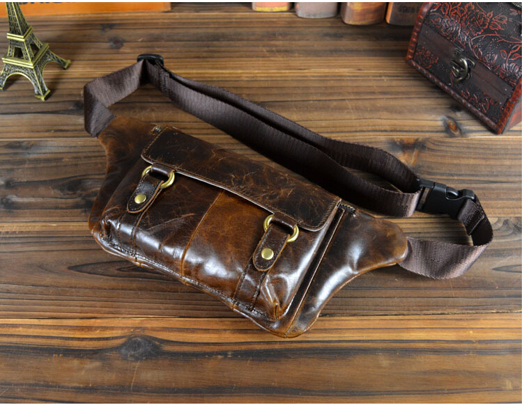 W719 Genuine Leather Cowhide Waist Bag Men Real Fanny Pack Tactical Bags Running Bum Leg Sports Small Travel Pocket Wallet - Be Better store