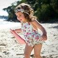 Ins Caliente Estampado de Flores de Algodón Mameluco Del Bebé Conjunto Infantil de Verano Kids Ropa de Encaje de Flores Bebé Traje Del Niño Del Mono