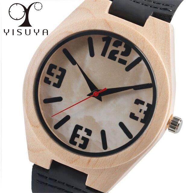 Yisuya 2018 Neue Grosse Anzahl Holz Armbanduhr Herren Marmor Muster