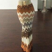 2016 New Women's High Waist Chevron Print Maxi Skirt Sexy skirts