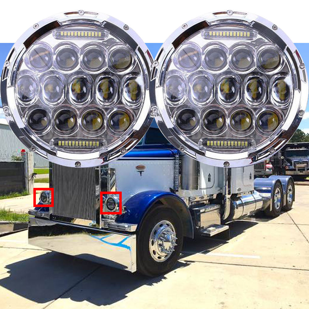 2 pcs 7 Inch Round Black Led Headlights With DRL Hi/lo Beam For Jeep Wrangler Jk Tj Harley Davidson MACK R Peterbilt Kenworth 7 inch round led headlights drl