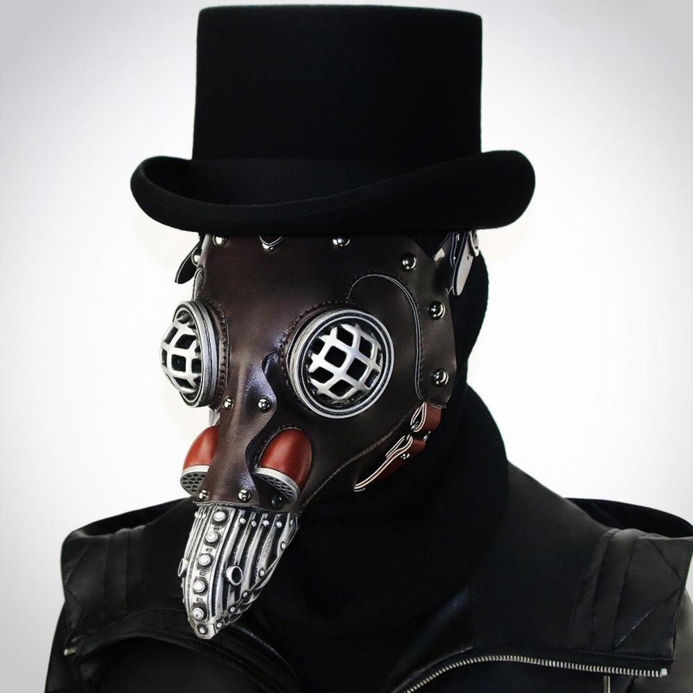 Head Ornament Maske Schnabel Masken Lange Nase Gothic Rock Punk PU Metal Maskes Erwachsene Halloween 3D Stage Party Requisiten