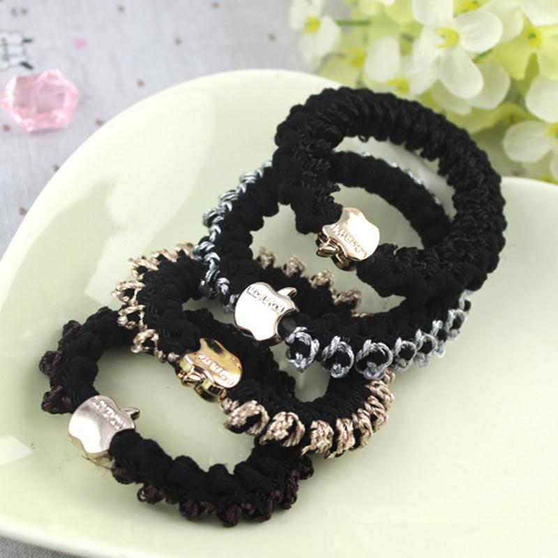 Golden Apple Wrinkling Cloth Dark Color Elastic Hair Bands Ponytail Holder Fashion Headwear Hair Accessories for Women