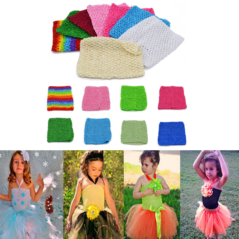 New Arrival 6inch 15*15CM Colourful Tutu Crochet Baby Tube Tops Chest Wrap For DIY Handmade Tutu Dress Tops Birthday Party Decor