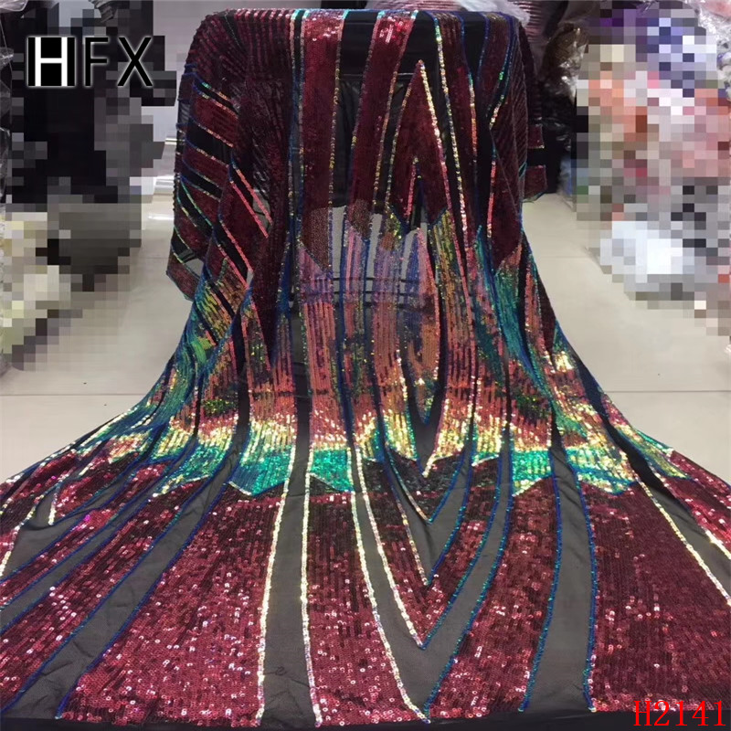 Red Sequin Net Fabric High Quality High French tulle Lace Fabrics 2019 Embroidered African Sequin Lace Fabrics F2141-in Lace from Home & Garden    1