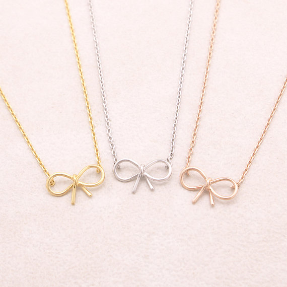 Gold Silver Pink-gold Dainty Bow Necklace 1 (1) -