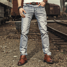 2018 Autumn Slim Straight Smoke Gray Men's Jeans Fashion Casual Men's Black And Gray Denim Pants Washed Jeans Men plus size 40