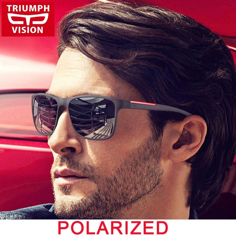 TRIUMPH VISION Polarizované hranaté sluneční brýle Pánské řidičské sluneční brýle pro muže Gradient UV400 Black Shades Male Gafas Oculos de sol