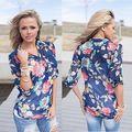 Las nuevas Señoras Gasa de Las Mujeres Camisa de Estampado floral de Manga Larga Blusa Casual Tops Camisetas 2016 nuevo
