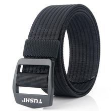 9 Colors Elastic Men Canvas Belt Adjustable Army Belt For Trousers Outdoor Nylon Tactical Belts Metal Buckle Military Waist Belt