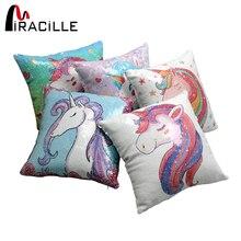 Miracille Sequins Unicorn Párna Cover Sofa Square Kid's Cartoon DIY Reversible Hableány dobja párna borítók Otthoni Dekoráció