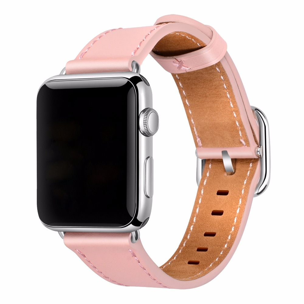 Apple Watch Band 38mm Women 42mm Genuine Leather Replacement Wrist Strap with Adapters and Buckle for iWatch Accessories Sports