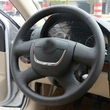 hot deal buy high quality cowhide top layer leather handmade sewing steering wheel covers protect for skoda fabia/octavia a5/yeti