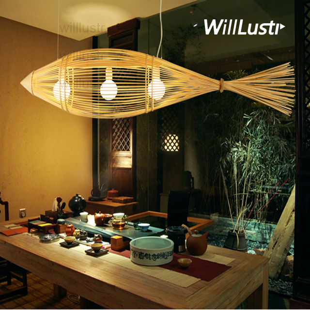 Willlustr Bamboo Pendant Lamp Big Fish Wood Suspension