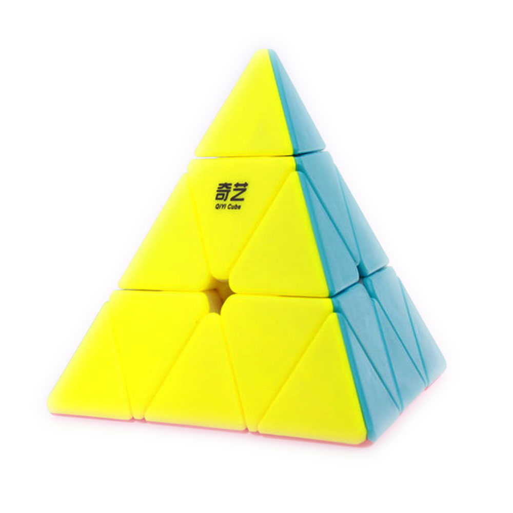 цена на QiYi Pyramid QiMing Triangle Pyramid No Sticker Magic Cube 3x3x3 Colorful Puzzle Speed Cubo Magico Educational Toy Gift for kid