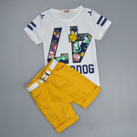 Kid Baby Boys Clothing Sets Kids Clothing Letter Print T Shirt Light Orange Pants Belt 3Pcs