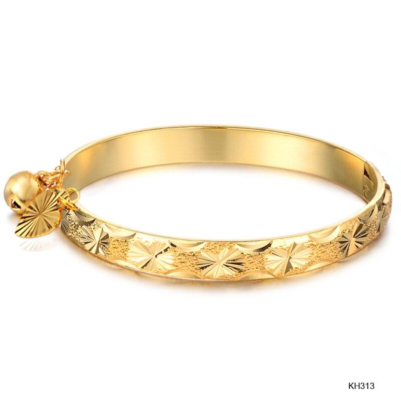 Gold Bell Heart Pendant Bangle Children Boys Baby Kids Bangle Cute Jewelry Gifts Drop Ship