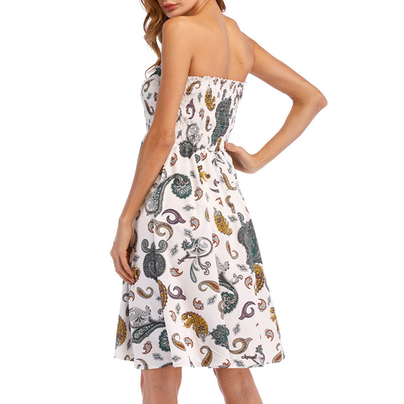 1087bb829c 2018 Strapless Tube Short Summer Dress Floral Print Off Shoulder Ruched  Wrap Chest Bandeau Beach Dress Boho Robe A Line Vestidos-in Dresses from  Women's ...
