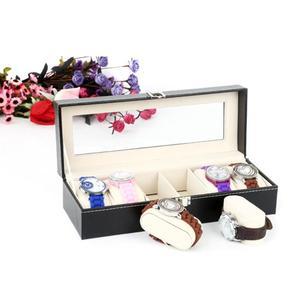 Image 2 - 6 חריצים שעון מקרה קופסא תכשיטי אחסון תיבת עם כיסוי מקרה תכשיטי שעונים תצוגה מחזיק ארגונית