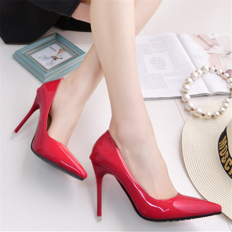 2017 fashion red bottom shoes lady high heels pointed single shoes women shallow mouth sandals female pumps zapatos mujer brand black 2016 wine red navy blue cashmere genuine leather round toe shallow mouth ultra high heels female boots female