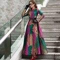 XXXL! Hot Vestido Novo 2016 Outono Inverno Mulher Vestido Maxi Cor Bonita Deixa Impressão Luva Cheia Vestido Longo Mais tamanho da Roupa