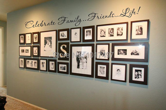 Attrayant Family Wall Quote Decal For Photo Background Wall ,Friends.Life Celebrate  Family Vinyl Wall