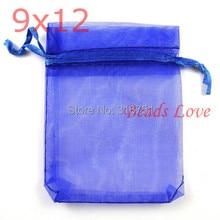 100 шт. Темно-Синий Ювелирные Изделия Упаковка Drawable Органза Сумки Свадебный Подарок 9 см х 12 см AA (W03199)