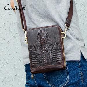 Image 1 - Mens Genuine Leather messenger bag Vintage Shoulder Bags Crocodile Crossbody Bags for men with Mobile Phone Pouch Waist Bag