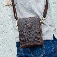Saco de mensageiro de couro genuíno masculino sacos de ombro vintage crocodilo crossbody sacos para homem com telefone móvel bolsa cintura