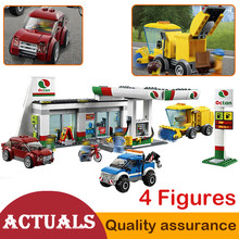 02047 Service Area Town Service Station Building Blocks Model Bricks Car Toys Educational Toys Compatible with Lego City 60132(China)