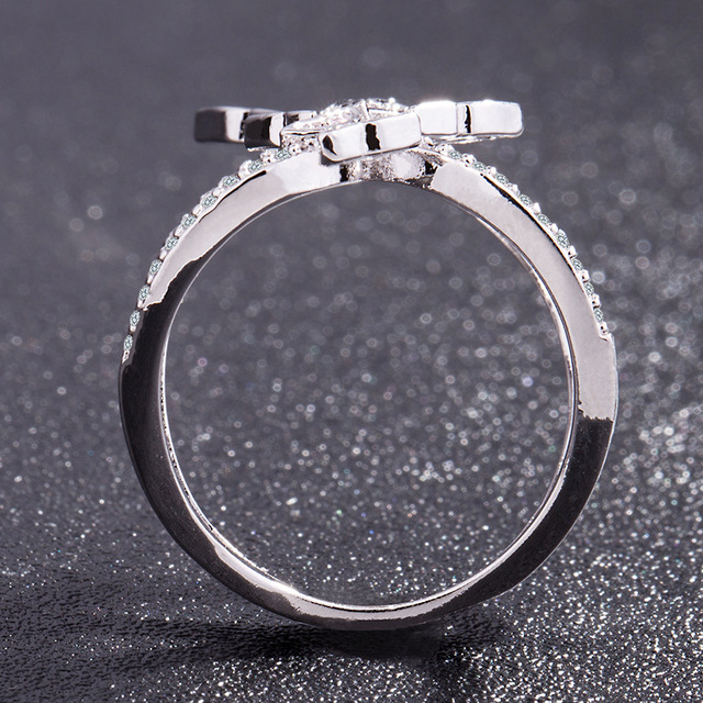 Butterfly Crystal Zircon Wings Ring for Women Love Jewelry Girls Trendy Wedding Bands 4