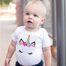 2019 White Unicorn Printing Baby Girl Romper Kids Summer Clothes Boys Rompers Kids 1st Birthday Jumpsuits Bebek Casual Home Wear(China)