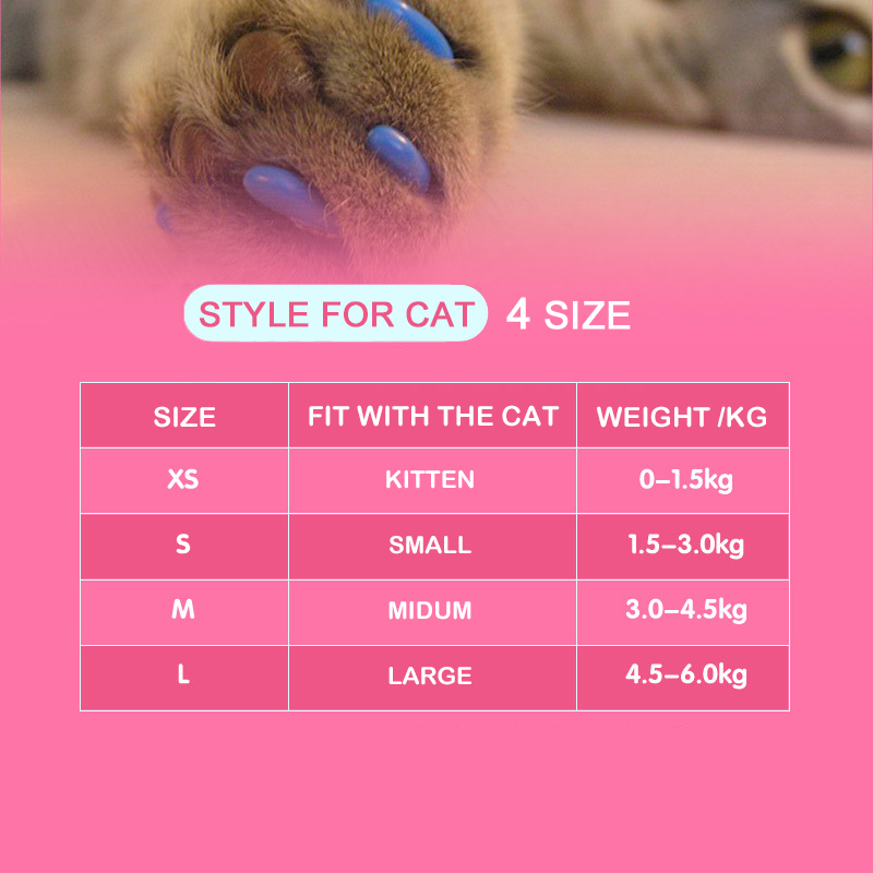 20 Pcs New Blister Card Anti-scratch Silicone Soft Cat Nail Caps Cat Paw Claw Nail Protector With Applicator And Free Glue #3
