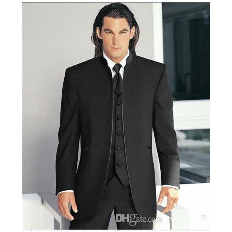 Custom Made Groom Tuxedos 3 Styles Best Man Mandarin Peak Lapel Groomsmen Men's Wedding Suits Bridegroom (Jacket+Pants+Vest)