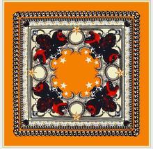Alta qualidade seda geométrica impressão lenço quadrado macio xale para mulher