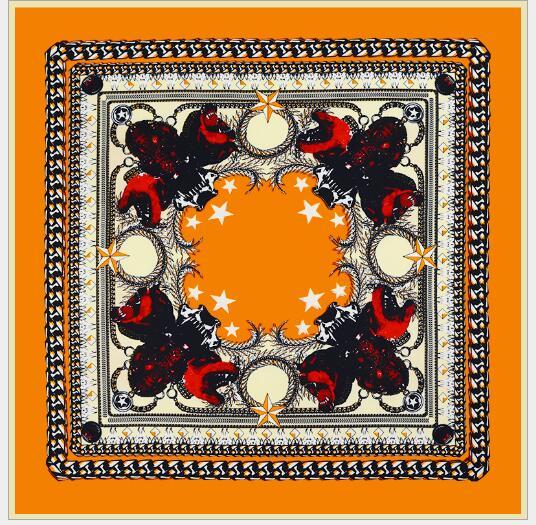 Chal suave cuadrado con estampado geométrico de seda de alta calidad para mujer