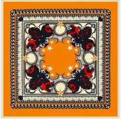 high quality silk geometric print scarf square soft shawl for women