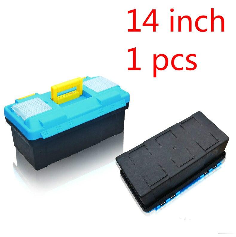1 قطعه 14 اینچ پلاستیک ابزار جعبه ابزار چند منظوره تعمیر و نگهداری خانگی جعبه ابزار تقویت شده وسیله نقلیه نصب شده
