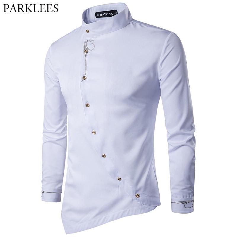 غير النظامية قميص الرجال 2017 جديد طويل الأكمام قميص أوم عارضة يتأهل زر أسفل الرجال اللباس قمصان طباعة الزفاف سهرة القمصان