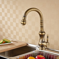 2016 New Arrival High Quality Heavy Solid Brass Single Handle Gold Kitchen Faucet Pull Out Gooseneck