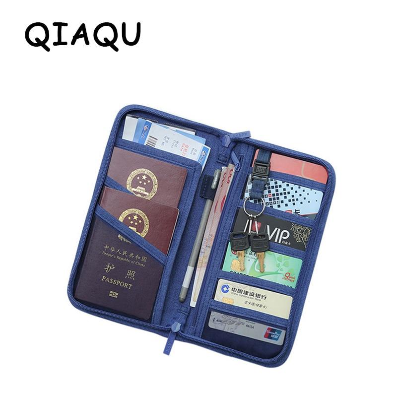 QIAQU Card Holder Passport Cover Travel Journey Document Organizer Wallet Passport Ticket Credit Card Bag Travel Accessories