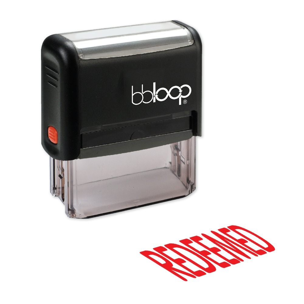 BBloop REDEEMED Self-Inking Stamp, Rectangular, Laser Engraved, RED/BLUE/BLACK 10 digit 9 wheels gray light blue rubber band self inking numbering stamp