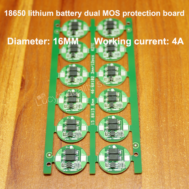 18650 Lithium Battery 4.2V Protection Board 18650 Lithium Charge And Discharge Common Dual MOS Protection Board 4A Current