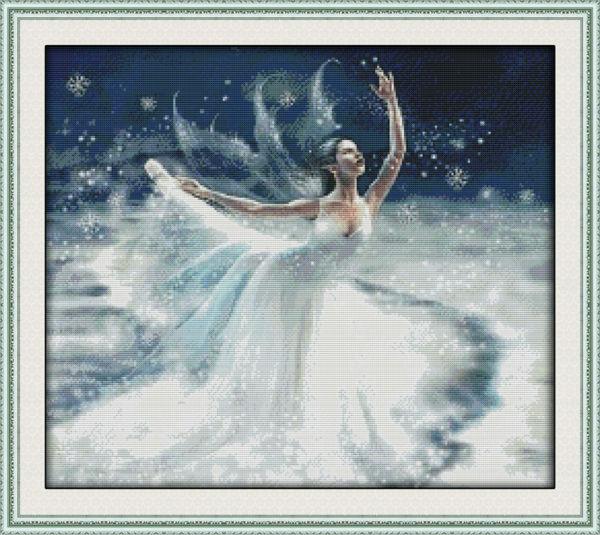 Baleti mbi engjëllin e bardhë akull të shtypur në kanavacë DMC - Arte, zanate dhe qepje