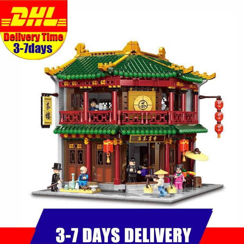 XINGBAO 01021 3033 Pcs Chinese Building Tea House Model Building Bricks Blocks Creative Educational Toys Christmas Gifts