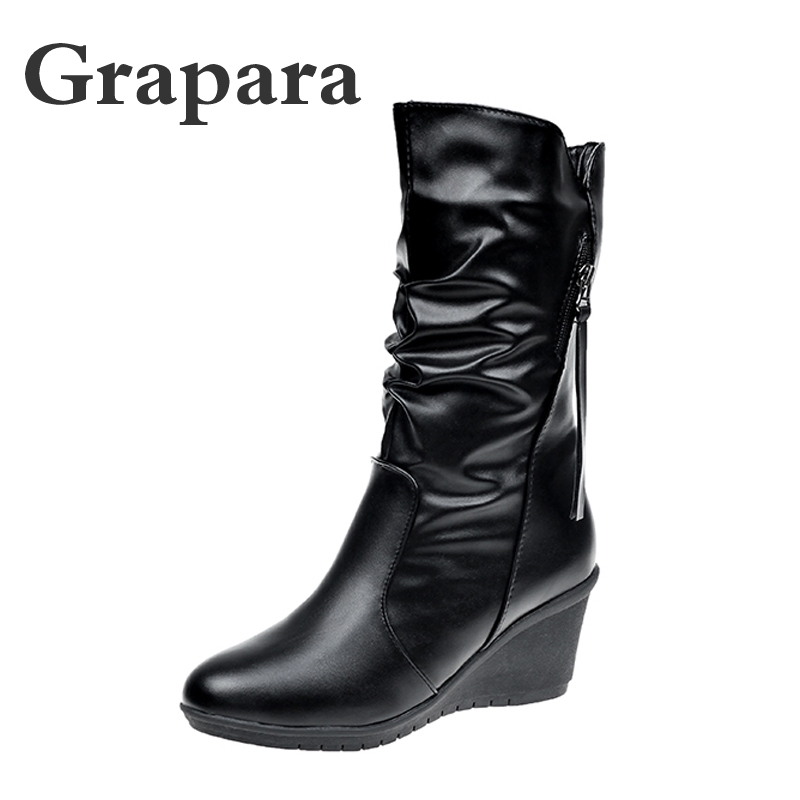 Grapara New Winter Boots Women Shoes Woman Wedges High Heels Mid Calf Boots Pleated Solid Black Women Boots Botas Zapatos Mujer футболка с украшением 55% льна