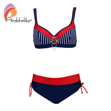 Andzhelika Sexy Gestreepte Bikini Vrouwen Badpak Patchwork Grote Cup Bikini Set Push Up Badmode Strand Plus Size Badpak