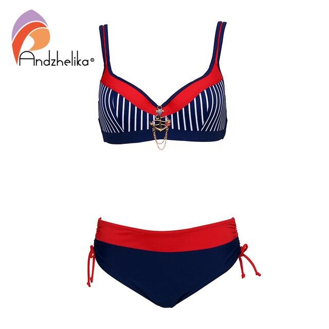 Andzhelika Sexy Striped Bikinis Women Swimsuit Patchwork Large Cup Bikini Set Push Up Swimwear Beach Plus Size Bathing Suit